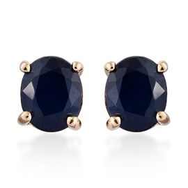 ILIANA 18K Yellow Gold 1 Carat AAA Kanchanaburi Blue Sapphire Oval Solitaire Stud Earrings (with Screw Back).