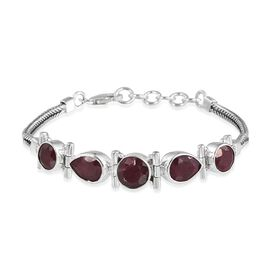 Ruby (Colour Enhanced) Bracelet (Size 7.5 to 8.5 Inch ) in Sterling Silver 12.73 Ct.