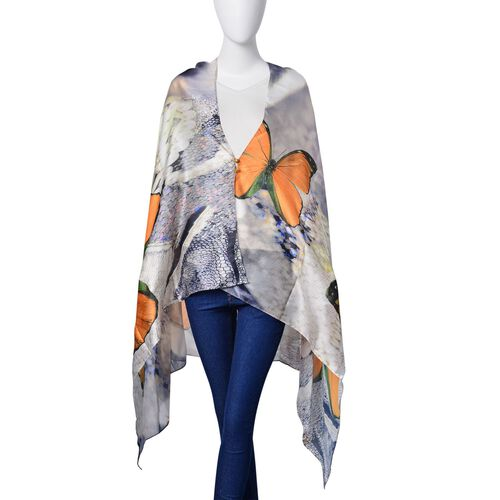 Orange and Black Colour Butterfly Pattern Light Green Colour Multi Functional Poncho (Size 175x98 Cm)