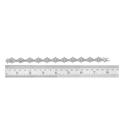 Espirito Santo Aquamarine (Rnd) Bracelet in Platinum Overlay Sterling Silver (Size 7) 11.500 Ct.