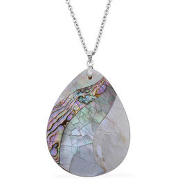 White Puka Shell and Abalone Puka Shell Pendant in Silver Tone with Stainless Steel Chain
