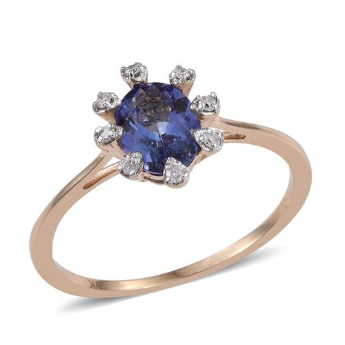 9K Y Gold Tanzanite (Ovl 1.40 Ct), Diamond Ring 1.500 Ct.
