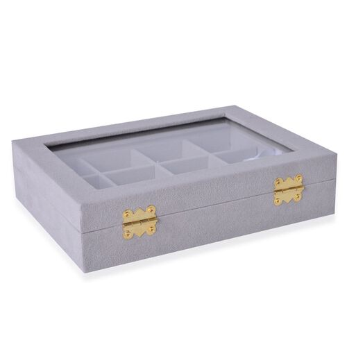Grey Colour 12 Sections Velvet Jewelry Box  with Anti Tarnish Treatment (Size 20X15X4.5 Cm)