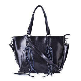 Designer Inspired Genuine Leather Black Colour Tote Bag with External Zipper Pocket with Tassels, Adjustable and Removable Shoulder Strap (Size 40x32x28x11 Cm)