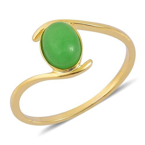 Chinese Green Jade (Ovl) Solitaire Ring in Yellow Gold Overlay Sterling Silver 1.650 Ct.