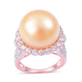 South Sea Golden Pearl (Rnd 22.25 Ct), White Zircon Ring in Rose Gold Overlay Sterling Silver 25.000 Ct.