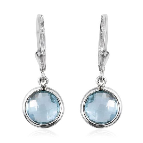 Sky Blue Topaz (Rnd) Lever Back Earrings in Sterling Silver 4.000 Ct.