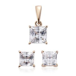 9K Y Gold Princess Cut (Princess) Solitaire Pendant and Stud Earrings (with Push Back) Made with SWAROVSKI ZIRCONIA