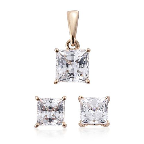 9K Y Gold (Princess Cut) Solitaire Pendant and Stud Earrings (with Push Back) Made with SWAROVSKI ZIRCONIA