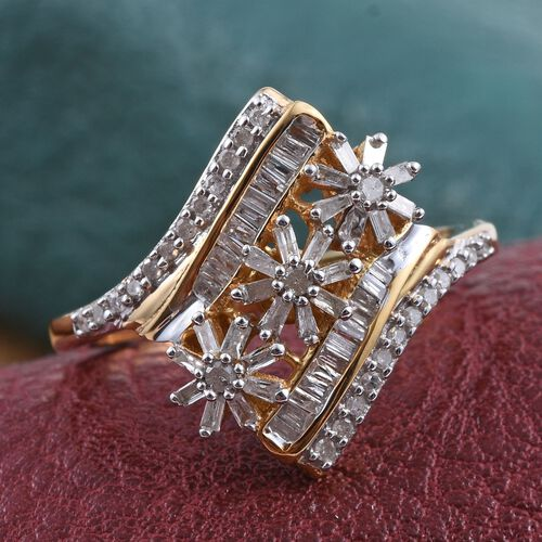 Diamond (Bgt) Triple Floral Ring in 14K Gold Overlay Sterling Silver 0.550 Ct.