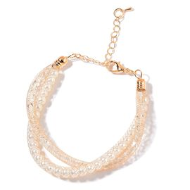 AAA White Austrian Crystal Twisted Bracelet (Size 7.5 with 1.5 inch Extender) in Gold Tone