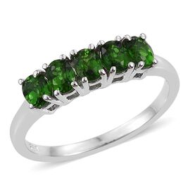 Russian Diopside (Ovl) 5 Stone Ring in Platinum Overlay Sterling Silver 0.750 Ct.