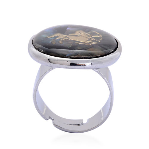 Abalone Shell Zodiac Sagittarius Adjustable Ring in Silver Tone 20.000 Ct.