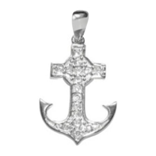 ELANZA AAA Simulated Diamond (Rnd) Anchor Pendant in Rhodium Plated Sterling Silver