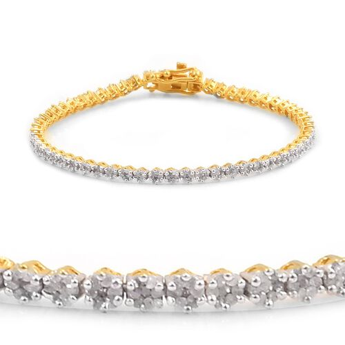Diamond (Rnd) Bracelet (Size 7) in 14K Gold Overlay Sterling Silver 2.000 Ct.