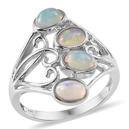 Ethiopian Welo Opal (Ovl) Ring in Platinum Overlay Sterling Silver 1.000 Ct.