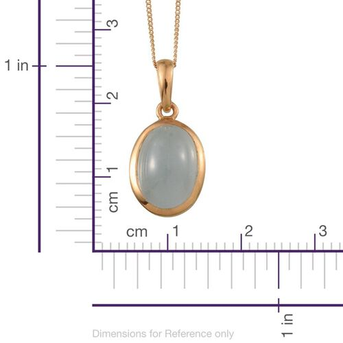 Espirito Santo Aquamarine (Ovl) Solitaire Pendant With Chain in 14K Gold Overlay Sterling Silver 6.000 Ct.