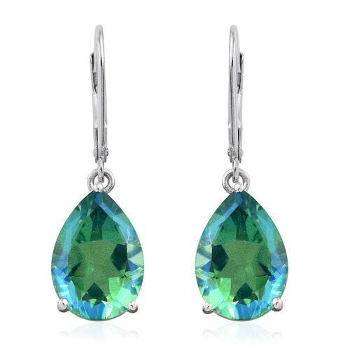 Peacock Quartz (Pear) Lever Back Earrings in Platinum Overlay Sterling Silver 11.500 Ct.