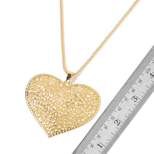 Heart Pendant with Chain (Size 28) and Hook Earrings in Yellow Gold Tone