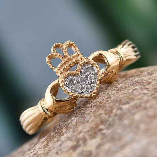 Diamond Claddagh Ring in Gold Overlay Sterling Silver.
