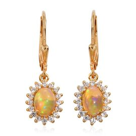 Ethiopian Welo Opal (Ovl), Natural Cambodian Zircon Lever Back Earrings in 14K Gold Overlay Sterling Silver 1.500 Ct.