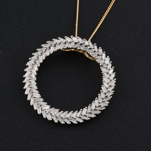 Diamond (Bgt) Circle of Life Pendant With Chain in 14K Gold Overlay Sterling Silver 1.000 Ct.