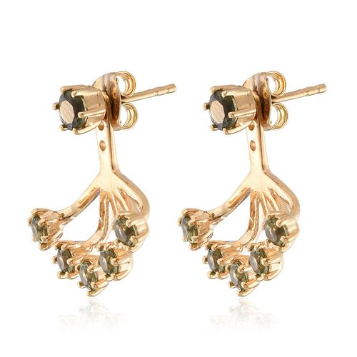 Bohemian Moldavite (Rnd) Jacket Earrings (with Push Back) in 14K Gold Overlay Sterling Silver 1.400 Ct.