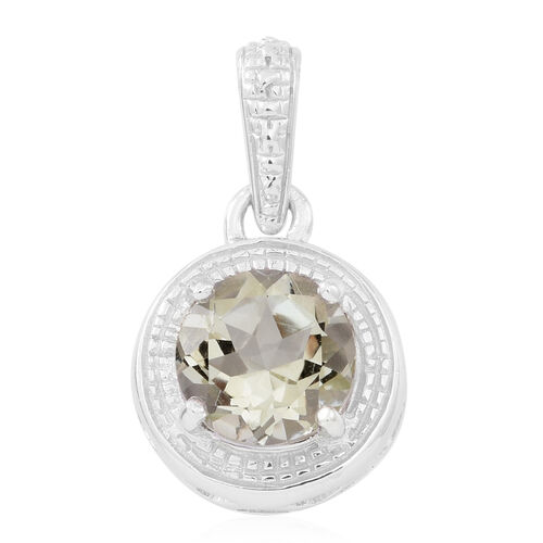 Green Amethyst (Rnd) Solitaire Pendant in Rhodium Plated Sterling Silver 2.750 Ct.