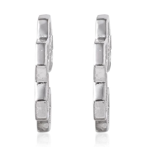 Platinum Overlay Sterling Silver Honey Comb Earrings (with Push Back)