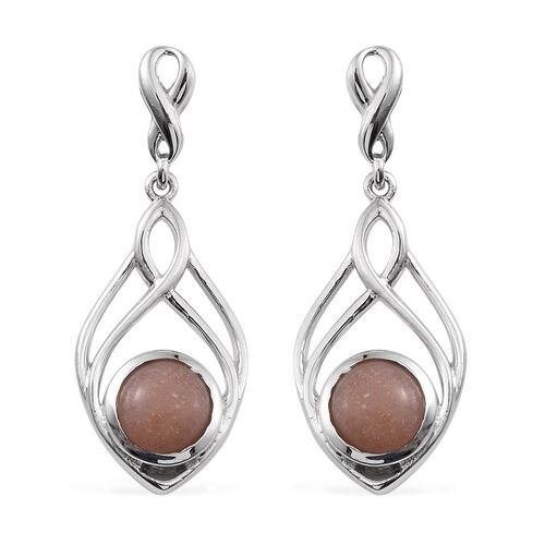 Morogoro Peach Sunstone (Rnd) Earrings (with Push Back) in Platinum Overlay Sterling Silver 3.500 Ct.