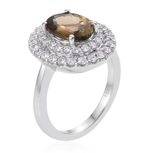 ILIANA 18K White Gold 3.50 Carat Natural Yellow Tanzanite Oval Halo Ring, Diamond SI G-H.