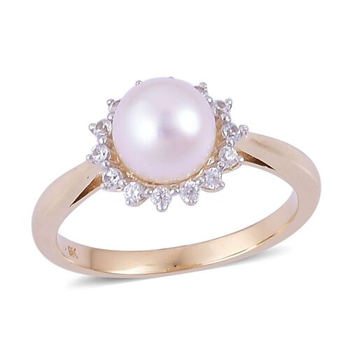 9K Y Gold Japanese Akoya Pearl (Rnd), White Zircon Ring