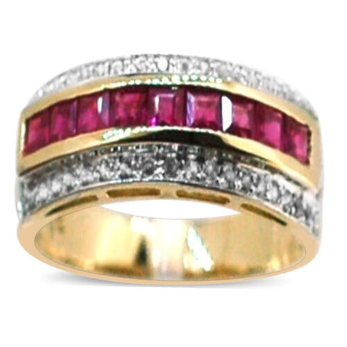 9K Y Gold AAAA Burmese Ruby (Sqr), Natural Cambodian White Zircon Ring 1.500 Ct.