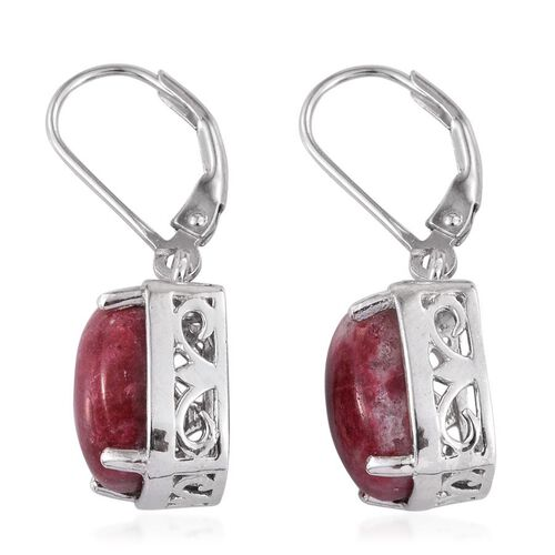 Norwegian Thulite (Cush) Earrings in Platinum Overlay Sterling Silver 8.500 Ct.
