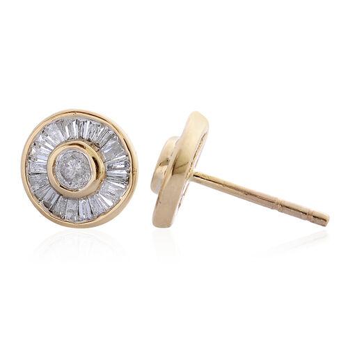 9K Yellow Gold SGL Certified Diamond (Rnd) (I3 G-H) Stud Earrings 0.450 Ct.