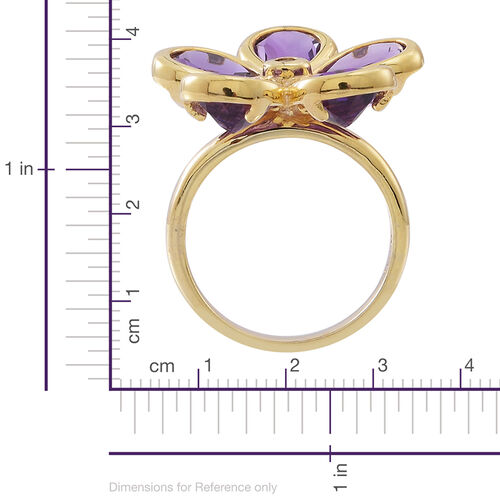 Amethyst (Pear), Natural Cambodian White Zircon Floral Ring in 14K Gold Overlay Sterling Silver 6.500 Ct.