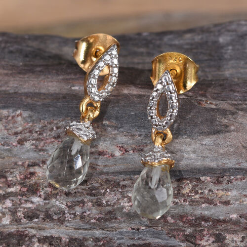 Green Amethyst Drop Earrings (with Push Back) in 14K Gold Overlay Sterling Silver 2.750 Ct.