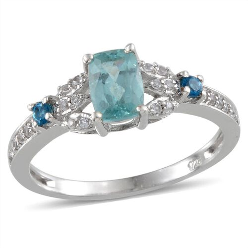 Paraibe Apatite (Cush 0.75 Ct), Malgache Neon Apatite and White Topaz, Ring in Platinum Overlay Sterling Silver 1.100 Ct.