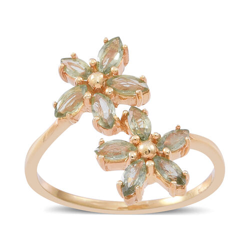 Green Sapphire (Mrq) Twin Floral Ring in 14K Gold Overlay Sterling Silver 2.000 Ct.