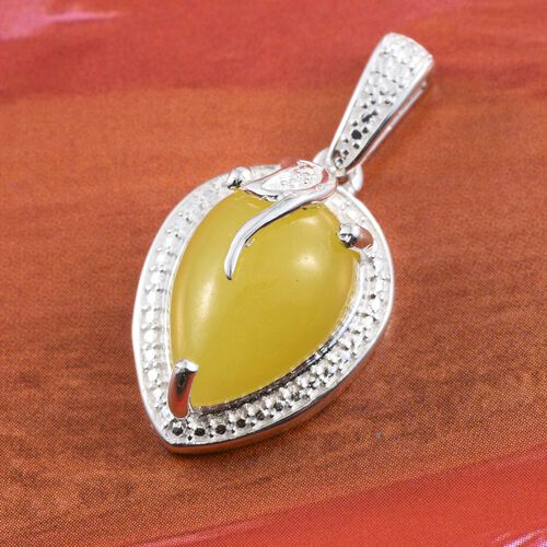 Honey Jade (Pear) Solitaire Pendant in Sterling Silver 4.000 Ct.