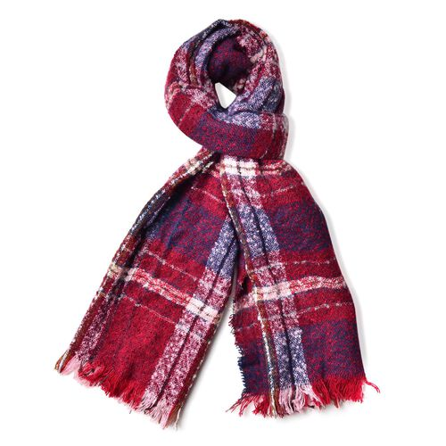 Blue and Red Colour Checks Pattern Scarf with Fringes (Size 90X66 Cm)