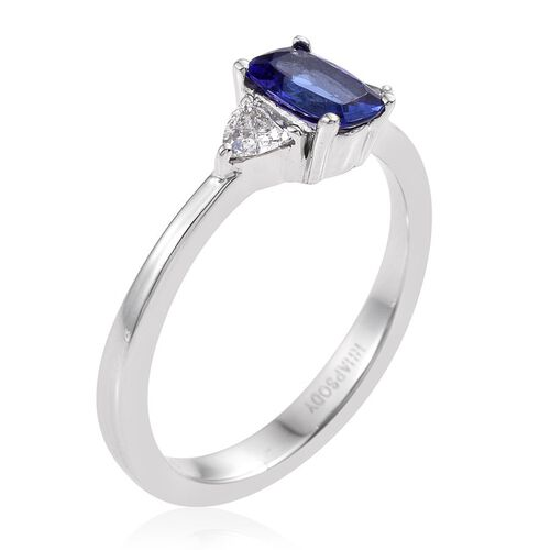 RHAPSODY 950 Platinum 1 Carat AAAA Tanzanite Cushion Ring, Diamond Trllion VS E-F.