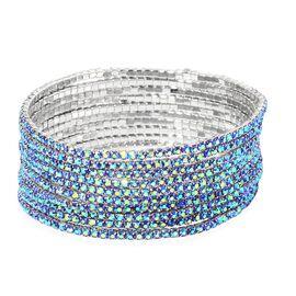 Set of 10 - Designer Inspired - Blue Colour Crystal Stretchable Bracelet (Size 7.5) in Silver Tone