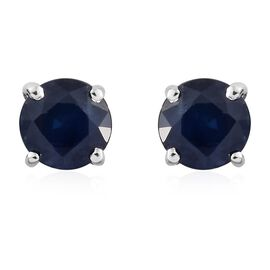 9K White Gold 1.05 Ct AA Kanchanaburi Blue Sapphire Solitaire Stud Earrings with Push Back