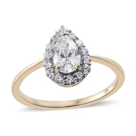 9K Yellow Gold Pear Halo Ring Made with SWAROVSKI ZIRCONIA