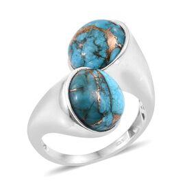 Mojave Blue Turquoise (Rnd) Crossover Ring in Platinum Overlay Sterling Silver 13.250 Ct.
