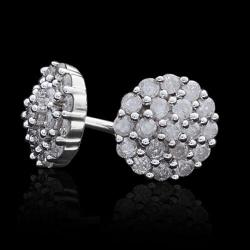 9K White Gold 0.50 Carat Diamond Cluster Stud Earrings SGL Certified I3 G-H