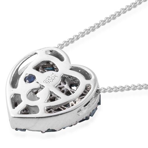 GP Blue Diamond (Bgt), Kanchanaburi Blue Sapphire Heart Pendant with Chain (Size 18) in Platinum Overlay Sterling Silver 0.350 Ct.