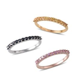 Set of 3 - Kanchanaburi Blue Sapphire (Rnd), Yellow Sapphire and Pink Sapphire Half Eternity Ring in Platinum, 14K Gold and Rose Gold Overlay Sterling Silver 2.000 Ct.