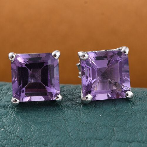 Amethyst (Sqr) Stud Earrings (with Push Back) in Platinum Overlay Sterling Silver 3.250 Ct.